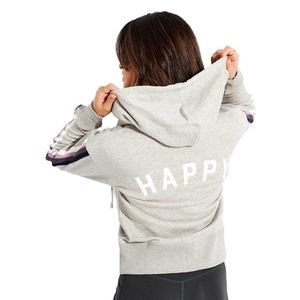 SPIRITUAL GANGSTER Happy Shrunken Zip Hoodie with Happy Graphic at the back-M